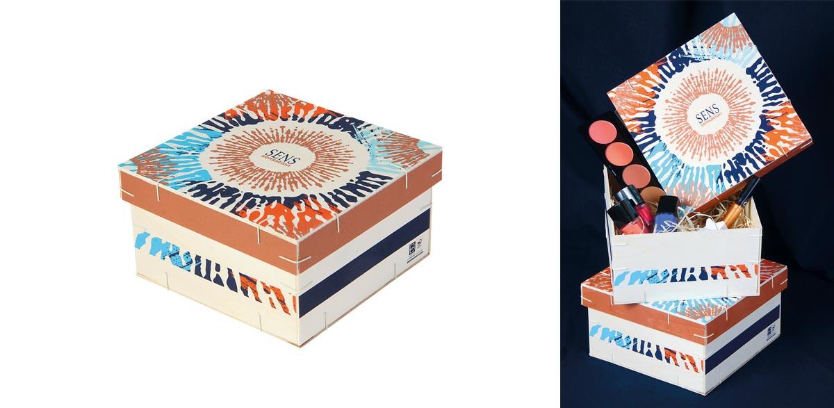 Boîte carrée avec couvercle coiffant Sens Sensations