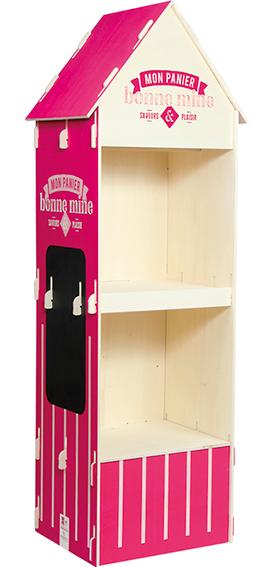 présentoir cabine en bois
