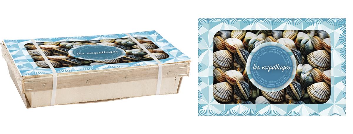 couvercle pour emballage bois les coquillages
